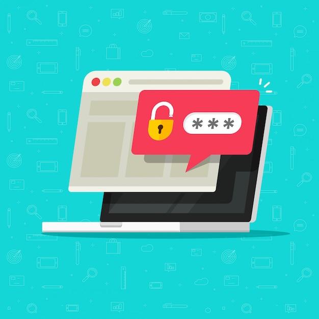 ロック解除されたパスワードバブル通知フラット漫画のラップトップコンピューター Premiumベクター