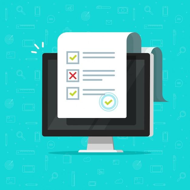 Онлайн анкета или результаты интернет-теста на компьютерном рисунке Premium векторы