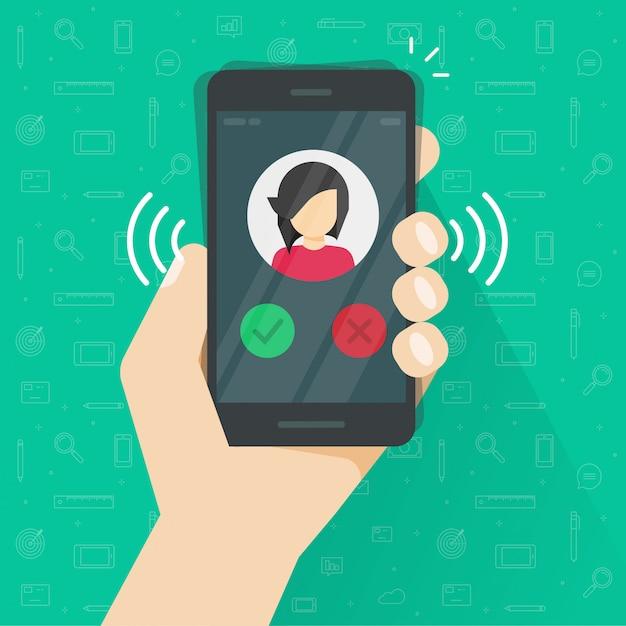 スマートフォンまたは携帯電話の呼び出し音または呼び出しの図フラット漫画 Premiumベクター