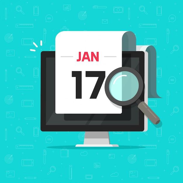 フラット漫画を検索カレンダー日付拡大鏡ガラスを持つコンピューター Premiumベクター