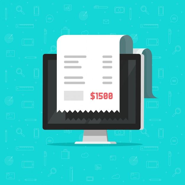 コンピューターと領収書の支払いまたはオンライン請求書の漫画 Premiumベクター