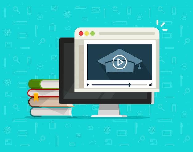 コンピューター上のオンラインビデオまたはインターネットウェビナー学習による教育 Premiumベクター