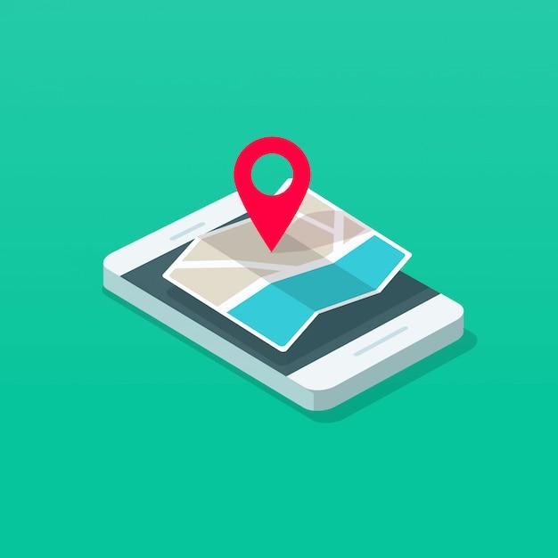 携帯電話または携帯電話とマップポインター宛先等尺性 Premiumベクター