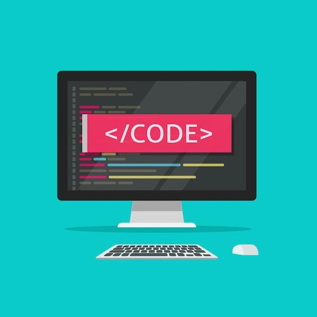 Программный код на экране компьютера или разработка программы иллюстрации мультяшный плоский стиль клипарт Premium векторы