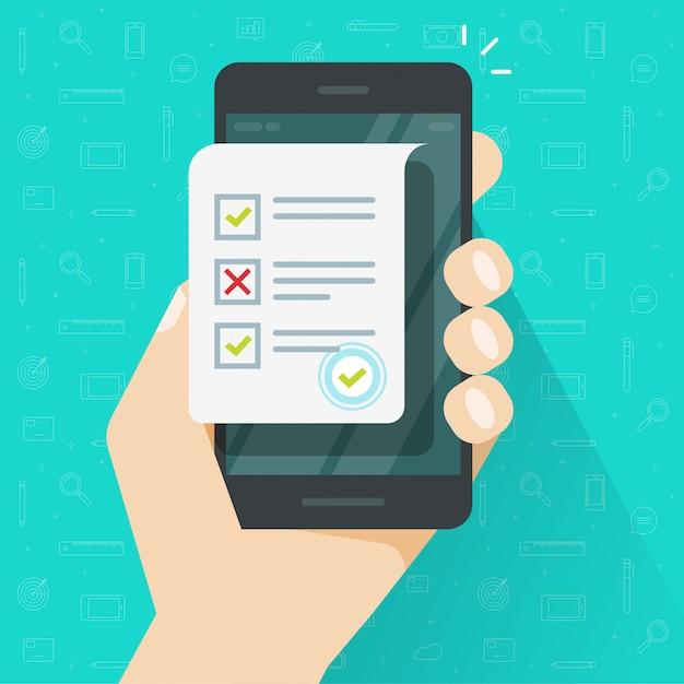 オンラインアンケート結果の図、フラット漫画としての携帯電話または携帯電話とクイズ試験シート文書のオンラインフォーム調査 Premiumベクター