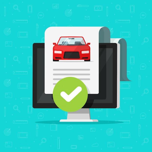 コンピューターで承認された車または自動車の履歴チェックまたは車両レポート文書 Premiumベクター
