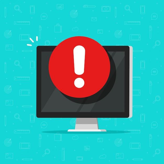 Компьютер с символом тревоги или предупредительного знака, плоский дисплей с восклицательным знаком, концепция опасности или риска Premium векторы