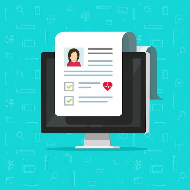 Медицинский документ на значке экрана компьютера или пк с результатами онлайн здорового электронного контрольного списка Premium векторы