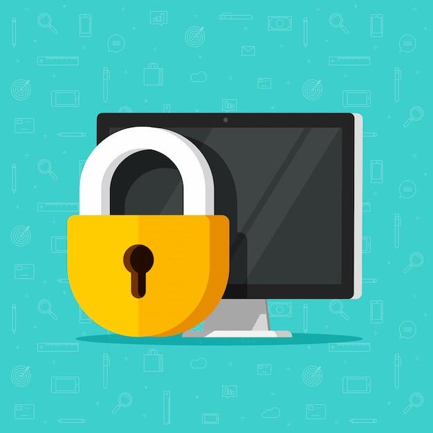 Блокировка безопасности компьютера или конфиденциальность и конфиденциальный доступ к данным Premium векторы