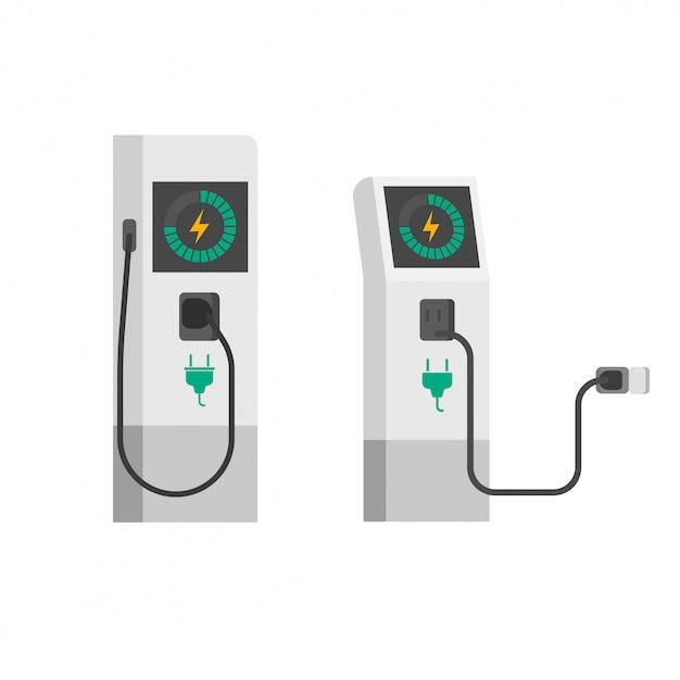フラット漫画電気自動車充電器 Premiumベクター