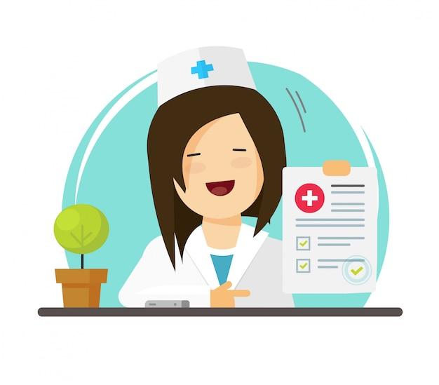 良好な診断を示す医師、または成功結果レポート付きの紙の文書形式で医師 Premiumベクター