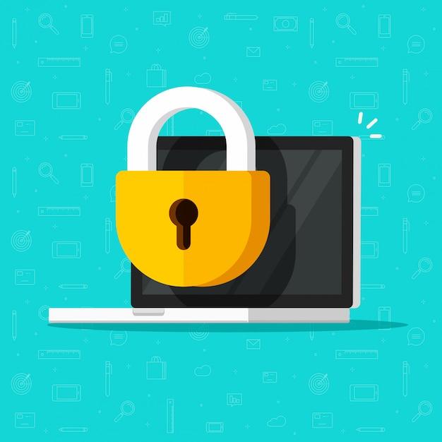 Блокировка ноутбука или значок защиты брандмауэра Premium векторы