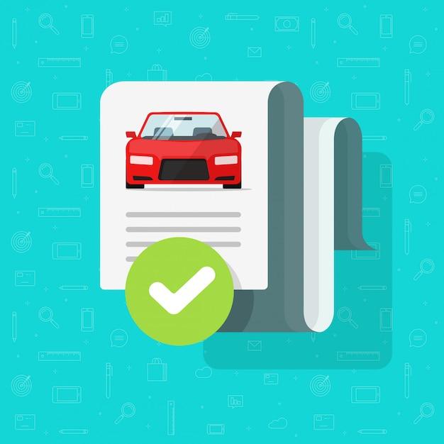車の履歴チェックまたはレポートドキュメント承認ベクトルフラット漫画 Premiumベクター