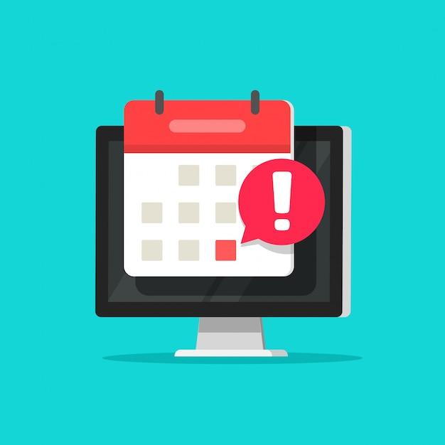 Календарная дата и время тревоги как уведомление о крайнем сроке на экране компьютера Premium векторы