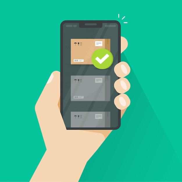 小包追跡または携帯電話フラット漫画イラストを介して配信 Premiumベクター