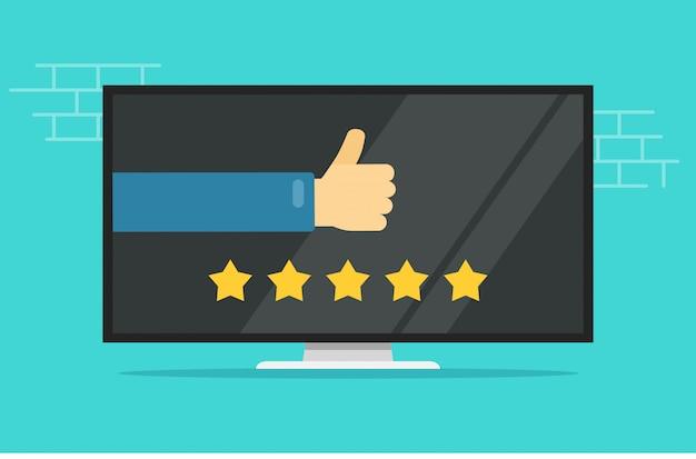 Отзывы рейтинги или отзывы отзывы онлайн на компьютере или экране телевизора Premium векторы