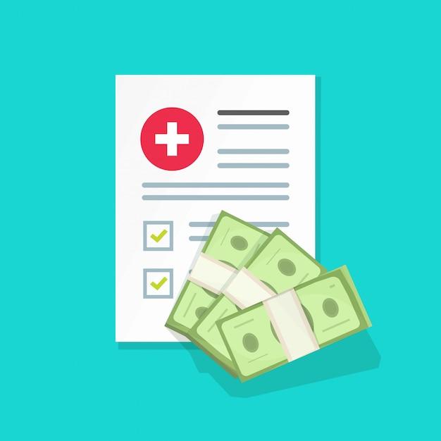 医療文書とお金の図、フラット漫画健康保険フォーム、お金の山 Premiumベクター