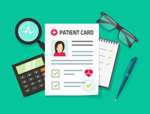 Медицинская карта пациента или диагноз анализируют отчет документа на рабочем столе Premium векторы