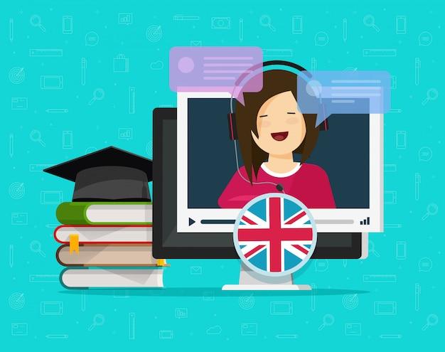 Видео на английском языке онлайн дистанционное обучение на настольном компьютере или концепция образования на пк с преподавателем говорящего чата плоский стиль иллюстрации шаржа Premium векторы
