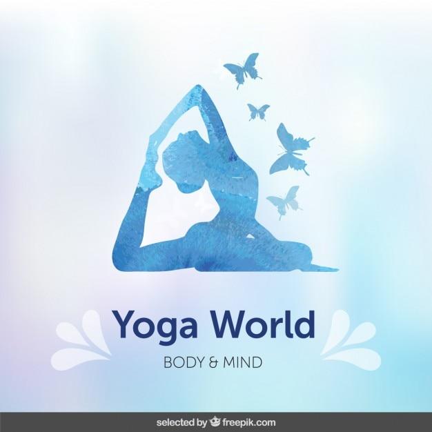 Голубой фон силуэт йоги Бесплатные векторы