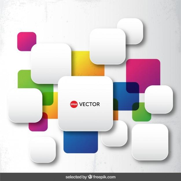 Округлые красочные квадраты Бесплатные векторы