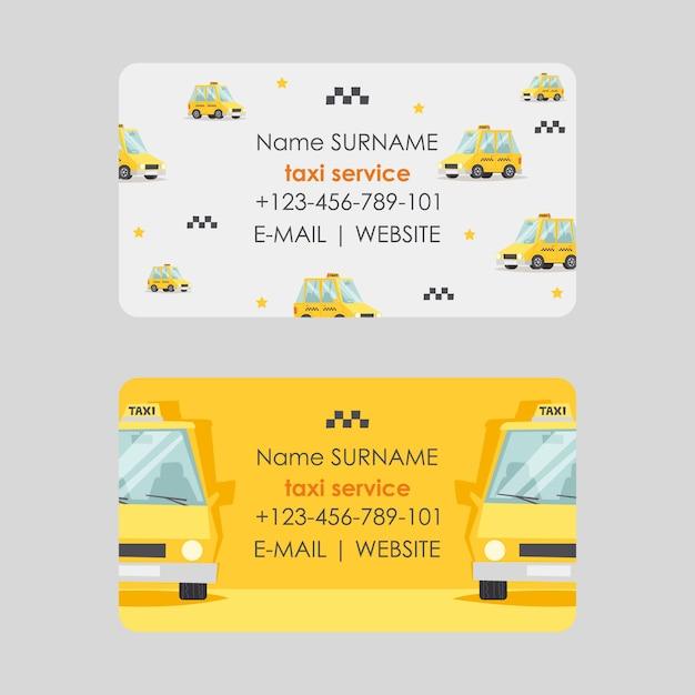 Дизайн визитной карточки обслуживания такси, иллюстрация. быстрые и надежные контакты кабины компании. Premium векторы