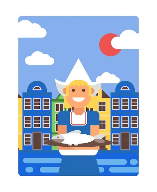 シンプルなフラットスタイル、イラストでオランダのポスター。背景にアムステルダムの古い家屋、ニシンの皿を保持している伝統的なオランダの衣装で笑顔の女の子 Premiumベクター