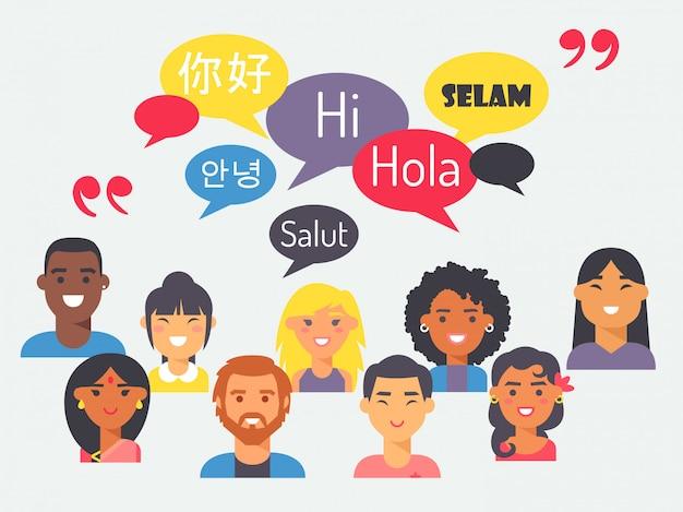 フラットスタイルでさまざまな言語を話す人々 Premiumベクター