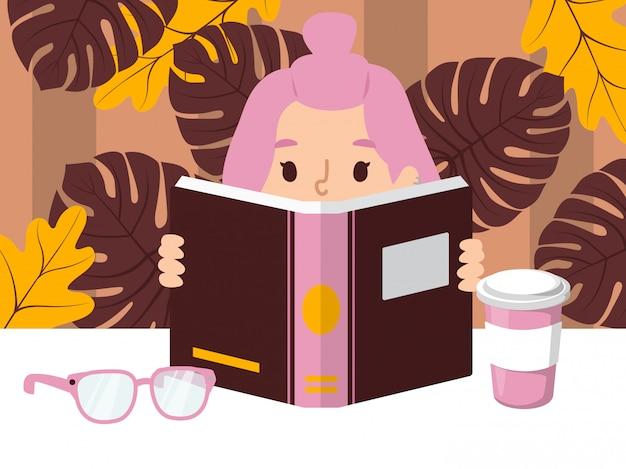 本を読んでいる女の子 Premiumベクター