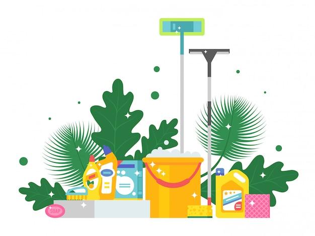 クリーニング製品と新鮮な緑の葉、イラスト。バケツ、モップ、石鹸、スポンジでフラットスタイルの背景。きらめく清潔で光沢のあるハウスキーピング用品 Premiumベクター