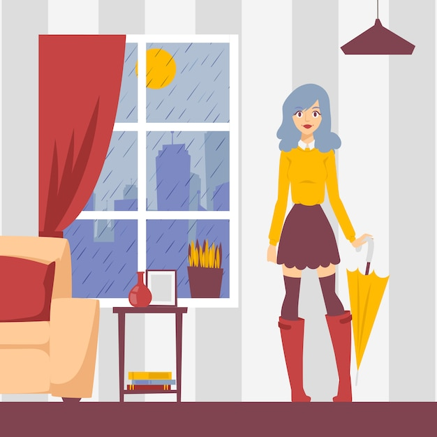 イラストのアパートで傘を持つ少女。ウィンドウの雨の天気、外に出る準備ができてスタイリッシュな服装の若い女性。ファッションモデルの漫画のキャラクター、美しい少女 Premiumベクター