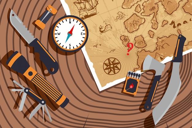 Планирование экспедиции для открытия новых земель. старая карта, компас, нож и фонарик на пень текстуры. исследование мира, путешествия, приключения Premium векторы