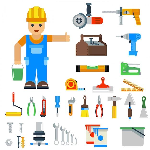 家の修理ツールベクトル要素 Premiumベクター