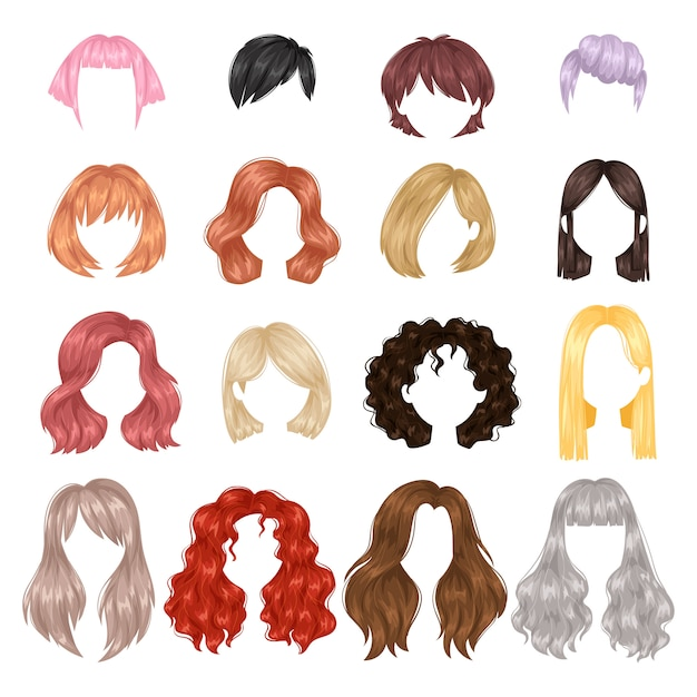 ベクトルの女性の髪型。 Premiumベクター