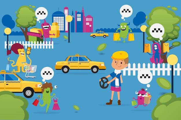 Изверги рождества ходя по магазинам и ища такси, иллюстрация. звери с покупками, бумажный пакет ищет желтую машину. Premium векторы