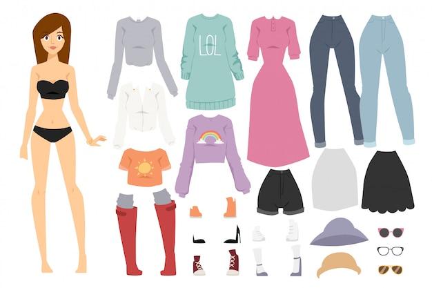 美しいベクトル漫画ファッションの女の子モデルコンストラクター見て立っています Premiumベクター