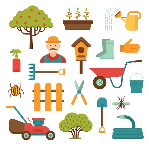 園芸工具ベクトル分離された要素 Premiumベクター