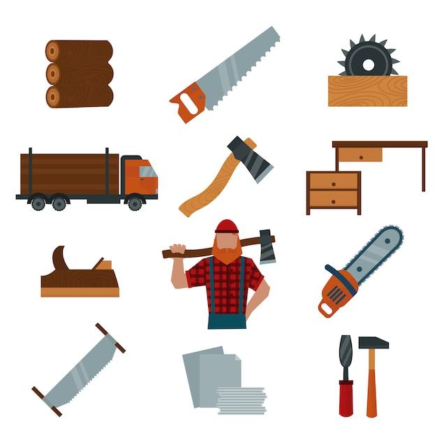 木こり漫画要素木こりツール要素ベクトルイラスト Premiumベクター