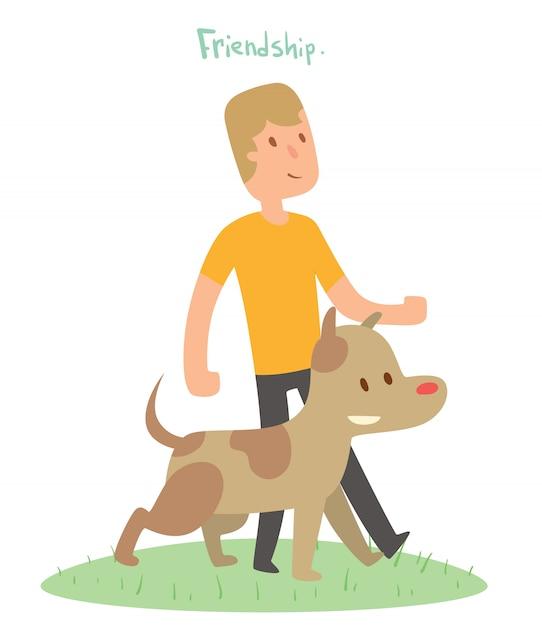 少年と犬の友達ベクトルイラスト Premiumベクター
