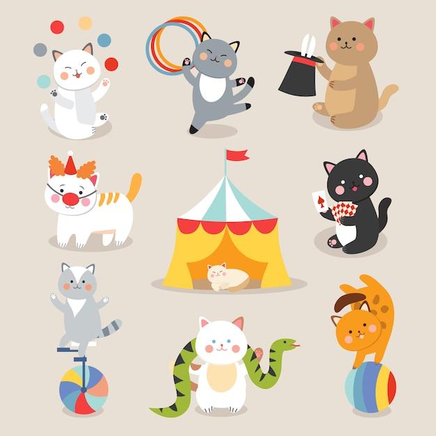 Цирковые кошки вектор. набор веселых цирковых котов Premium векторы