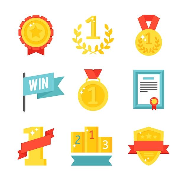 Значки трофея и наград установили плоскую иллюстрацию. Premium векторы