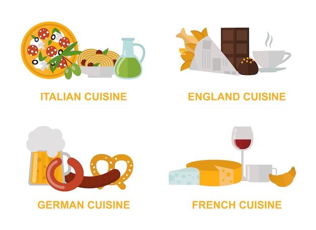 Кухня обед для гурманов традиционные блюда плоской иллюстрации набор. Premium векторы