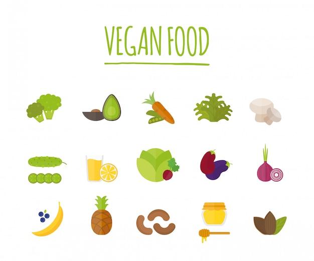 Веганская еда векторные иллюстрации Premium векторы