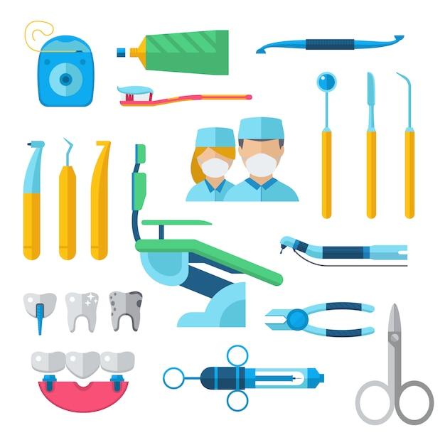 平らな歯科用器具セット歯科医ツール概念ベクトル図です。 Premiumベクター