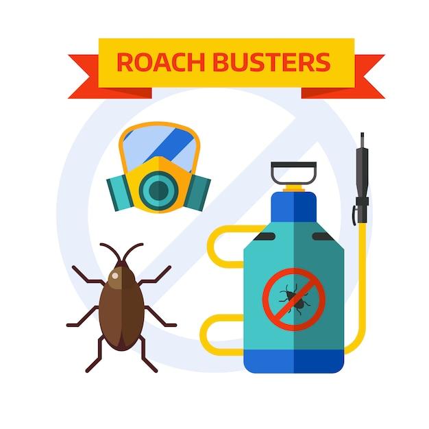 Борьба с вредителями работник распыления пестицидов дома насекомых вектор. Premium векторы