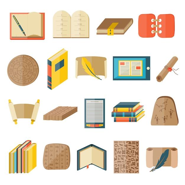 本漫画のアイコンには、通常のタイポグラフィ図書館教育状態ベクトルが含まれていました。 Premiumベクター
