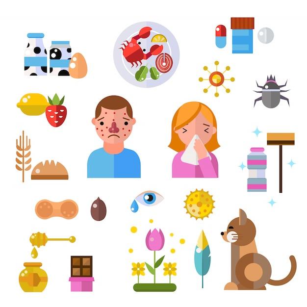 アレルギーのシンボルと人々の病気情報ベクトルシンボル Premiumベクター