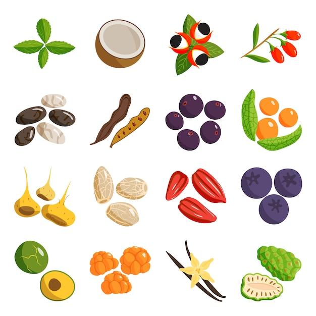 ベジタリアンフード健康的で野菜のベジタリアングリーンフード。 Premiumベクター