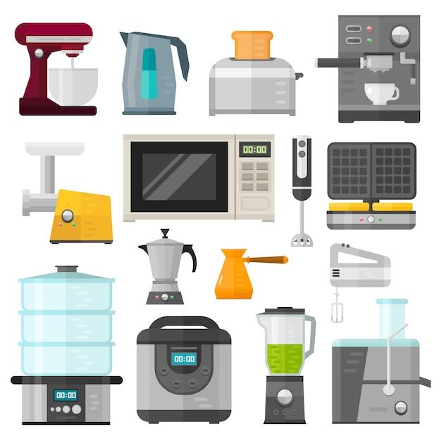 家電設計調理用途と家電機器キッチン。家電家庭用調理セット。 Premiumベクター