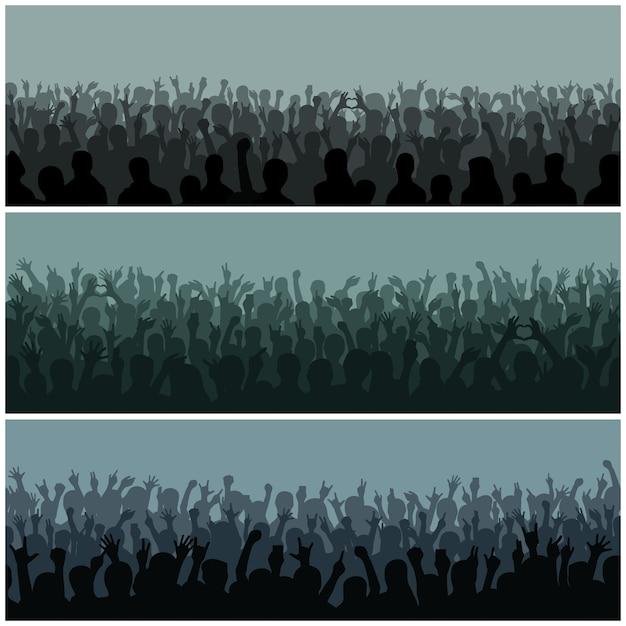 手シルエットを持つ観客は、音楽祭やコンサートの上のステージベクトルからストリーミングを調達しました。 Premiumベクター